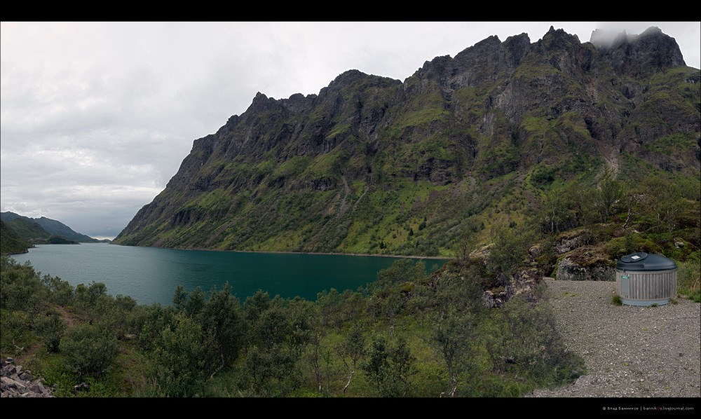 Панорама 1. Горы и зелёная вода.