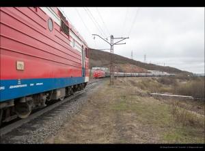 Скрещение с поездом 92-м по б/п 1444 км