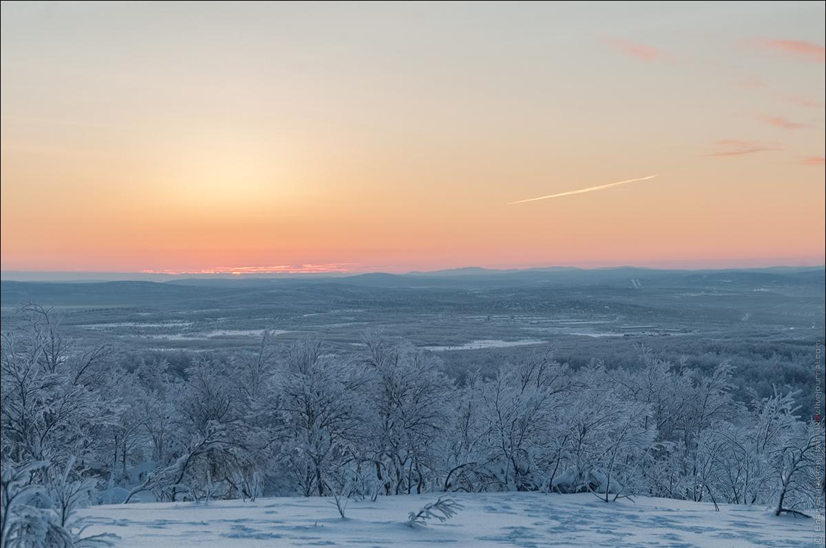 Первое солнце на широте Мурманска после полярной ночи (11.01.18); снято с сопки Солнечной