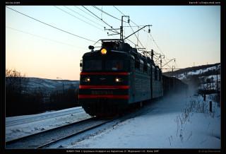ВЛ80т-944 с грузовым поездом на перегоне ст. Мурманск—ст. Кола ОКТ