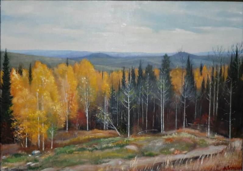 """""""Осень в Кузбассе"""". (70*90 см), масло, оргалит. 2012 г."""