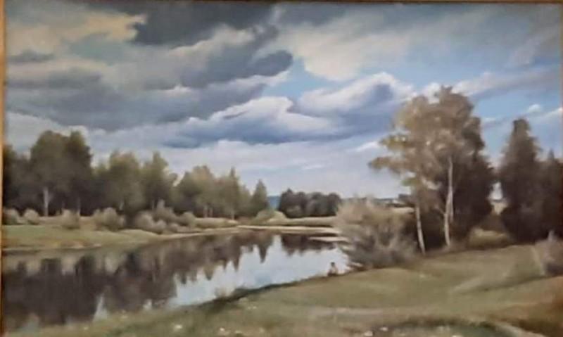 """""""Облака"""". А. М. Хоменко. (50*70 см), масло, оргалит. 2008 г."""