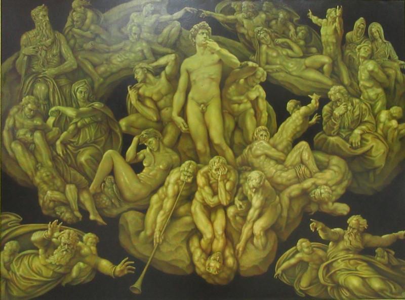 Композиция на тему фресок и скульптур Микеланджело Буонаротти. (180*200 см). Масло, холст.