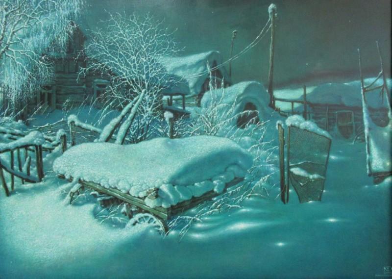 """Зимний вечер"".  (80*120 см). Масло, холст."