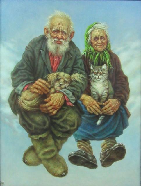 """""""Старички на облачке"""". (120*80 см). Масло. холст."""