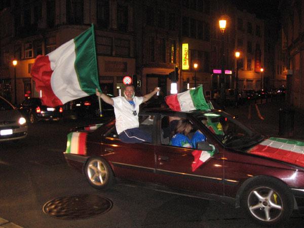 Italian fans celebrating dangerously