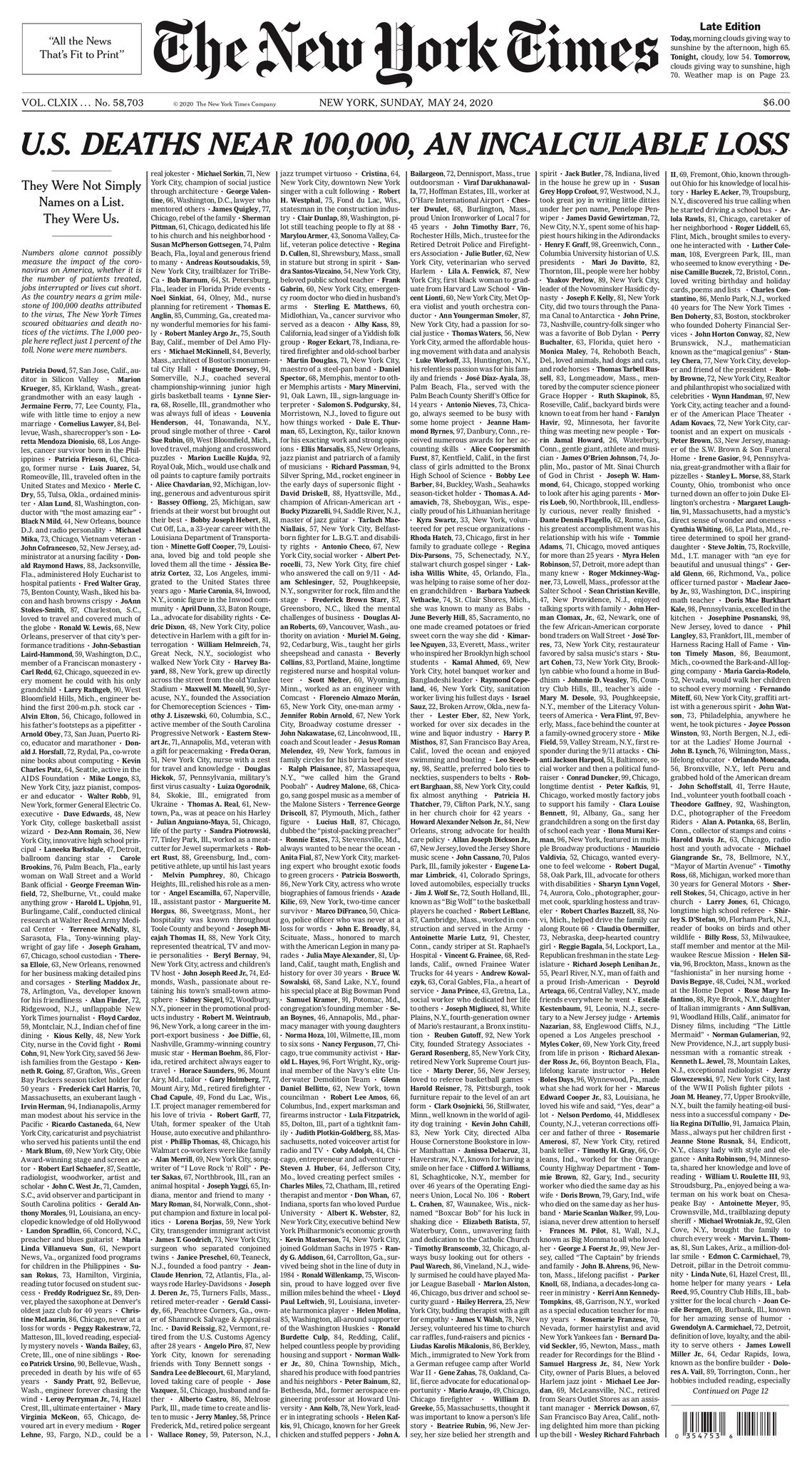 Представление некрологов и извещений о смерти из газет по всей стране показывают неисчислимые потери.