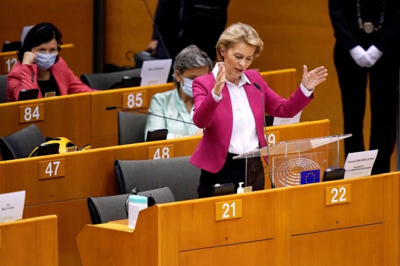 Урсула фон дер Лейен, президент Европейской комиссии, выступает в Брюсселе в среду.