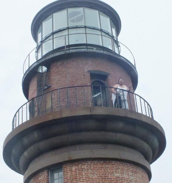 20130610 Carole on the Gay Head Lighthouse