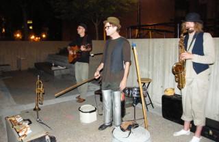 Band outside the Rarig, 8/5/09