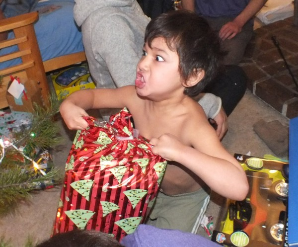 Bangii opening presents.  Bend, OR 12/25/12