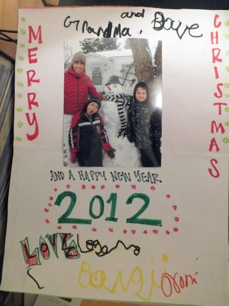 Card from the kids to us.  Bend, OR 12/24/12