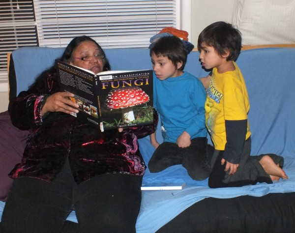 Carole reading to grandkids.  Bend, OR 12/24/12