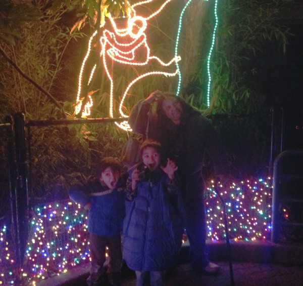 Carole and the kids mug in front of ZooLight ape, 12/27/12