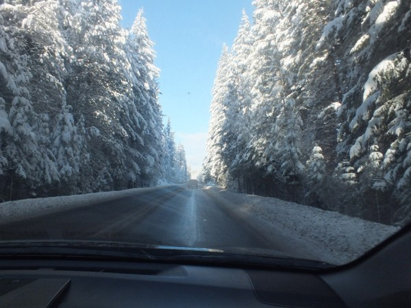 Driving through the mountains from Bend to Portland, 12/27/12