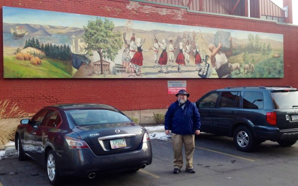 Dave in front of Basque mural, Boise ID 1/3/13