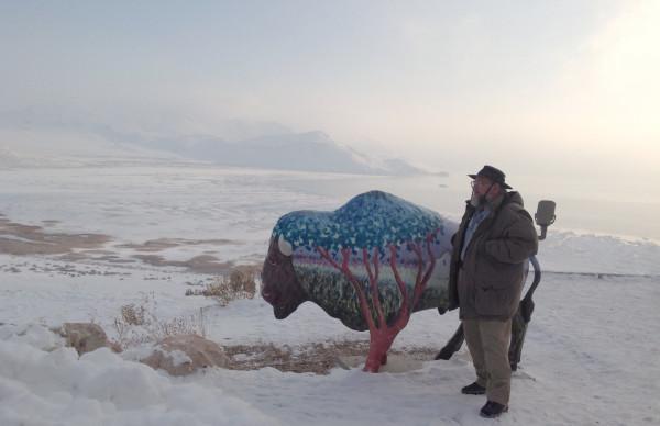 Dave with buffalo statue, Buffalo Point, Antelope Island, UT 1/4/13