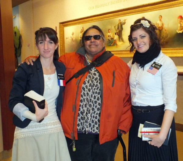 Carole and Mormon missionaries, South Visitors Center, Temple Square, 1/4/13