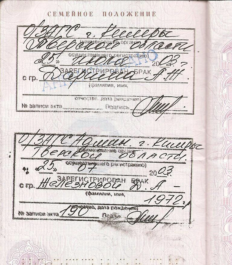 Как выглядит паспорт после развода один миг