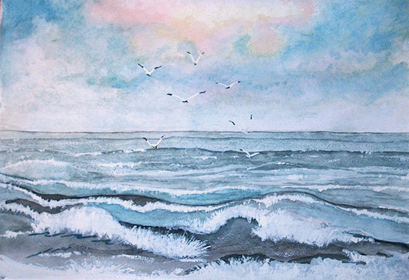 рисунки бури акварелью