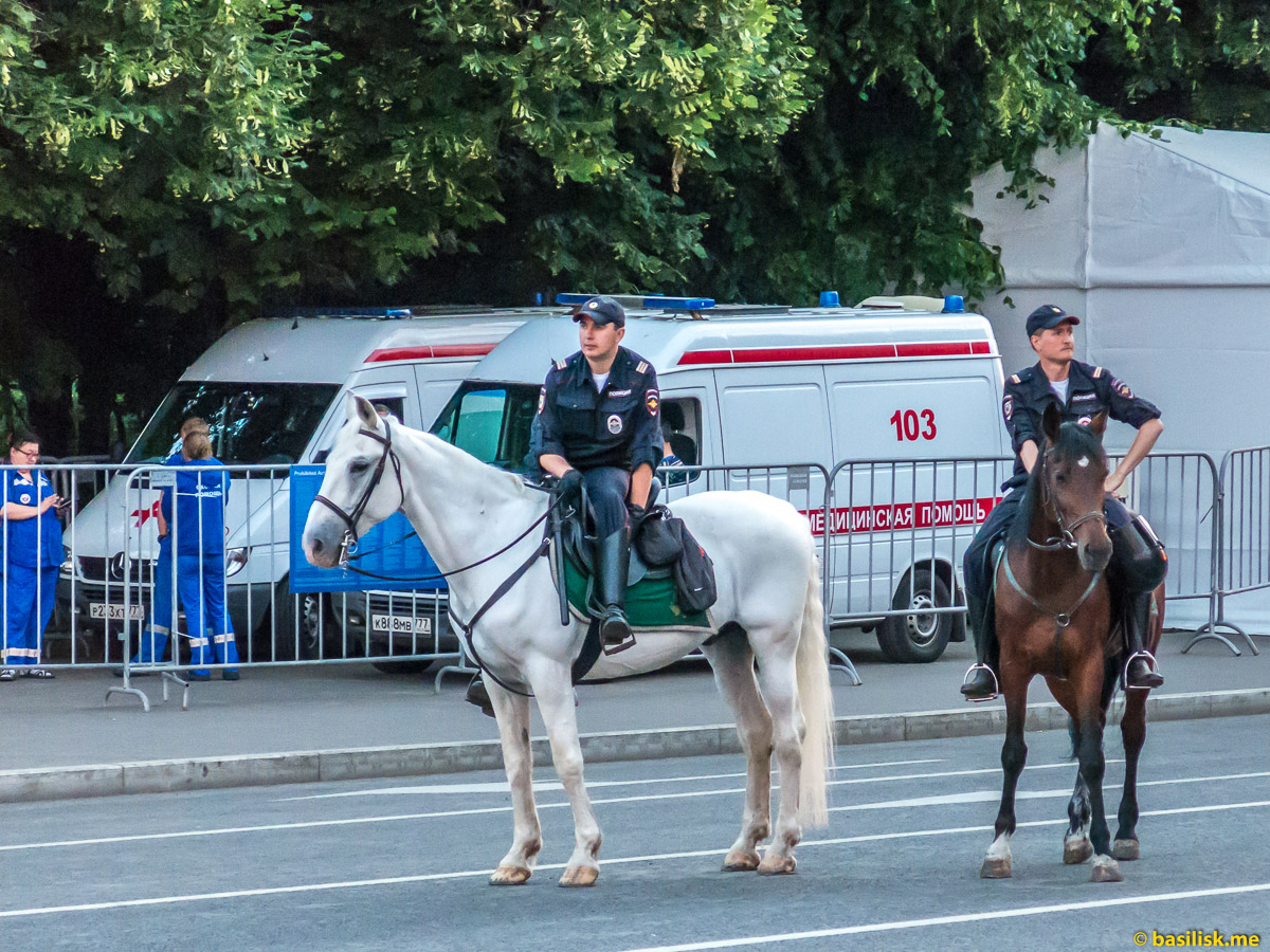 Конная полиция. Смотровая площадка на Воробьёвых горах. Москва. 25 июня 2018