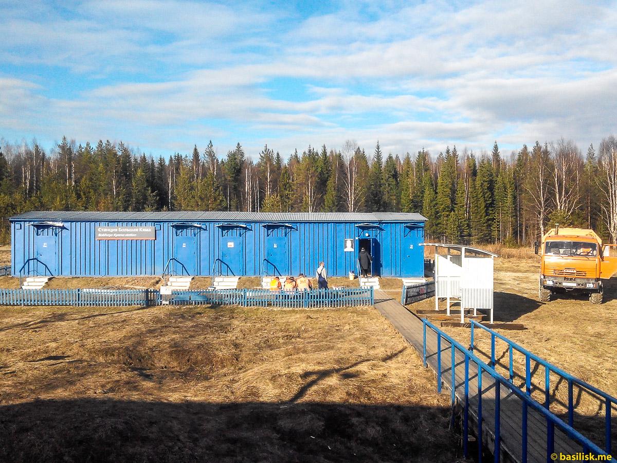 Станция Большая Кяма. Поезд 6532 Обозерская - Онега. Архангельская область. Май 2018
