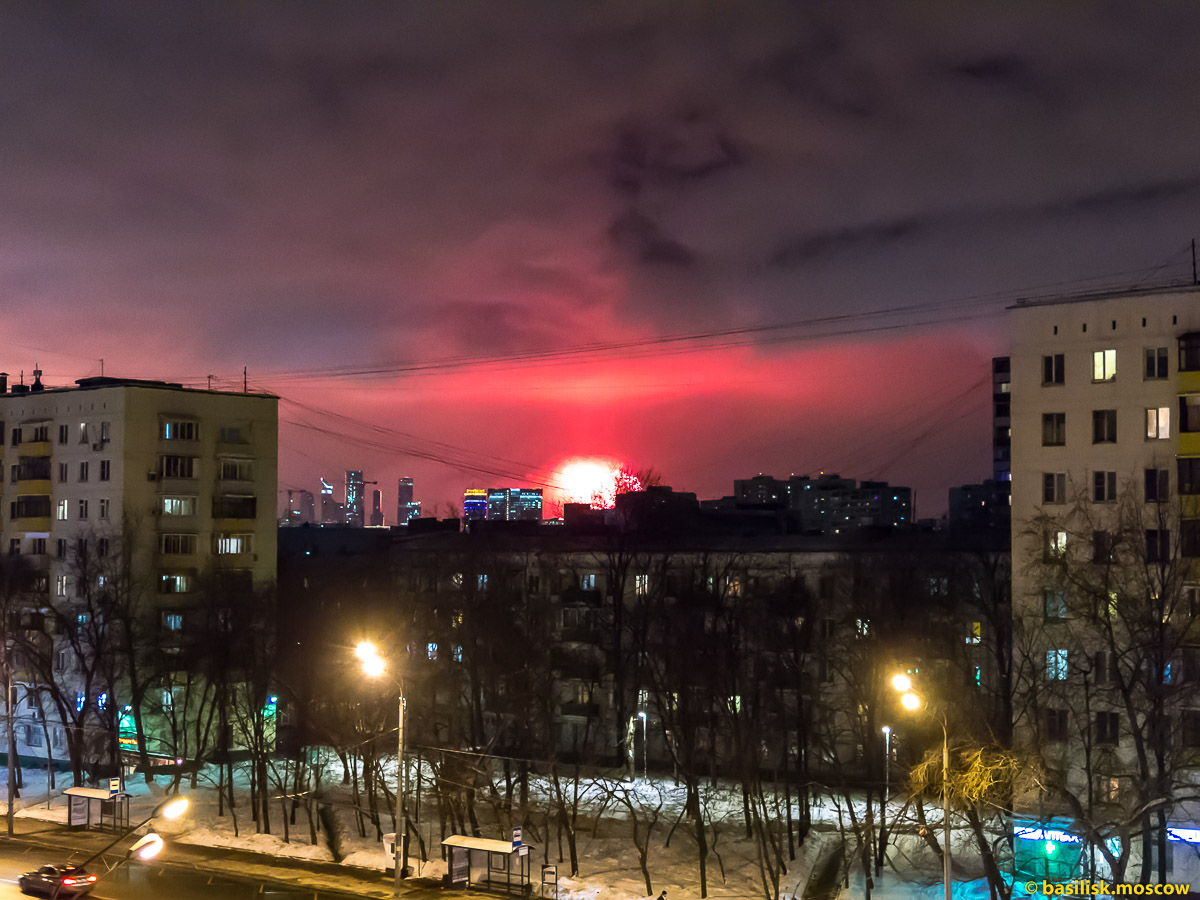 Праздничный салют. Москва. 23 февраля 2018