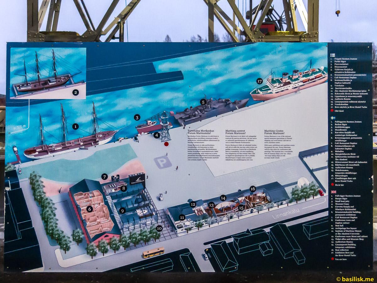 Схема расположения музейных судов. Набережная морского музея Forum marinum Turku. Турку. Январь 2018