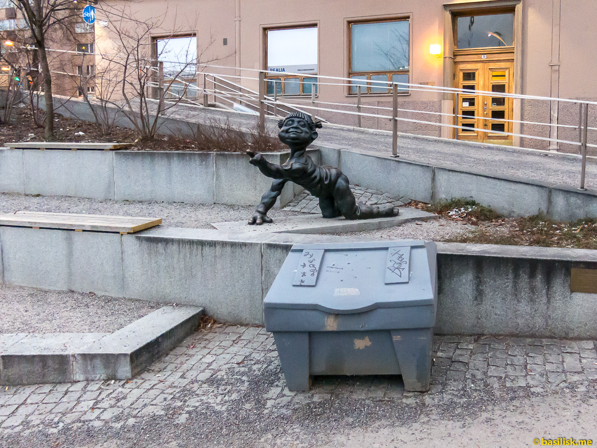 Набережная реки Aura Läntinen Rantakatu Turku. Турку. Январь 2018