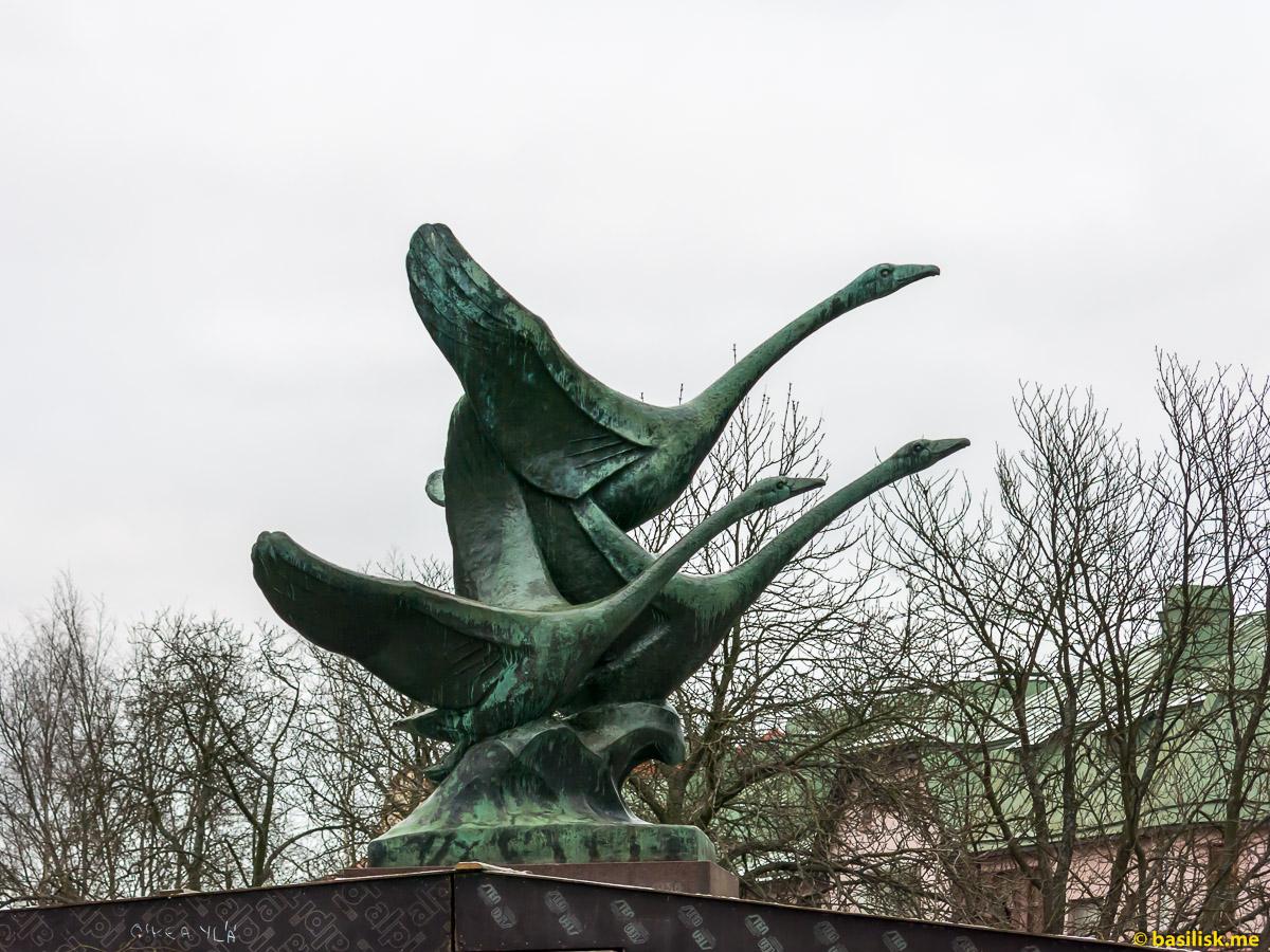 Парк Puolalanpuisto. Художественный музей. Улица Aurakatu Turku. Турку. Январь 2018