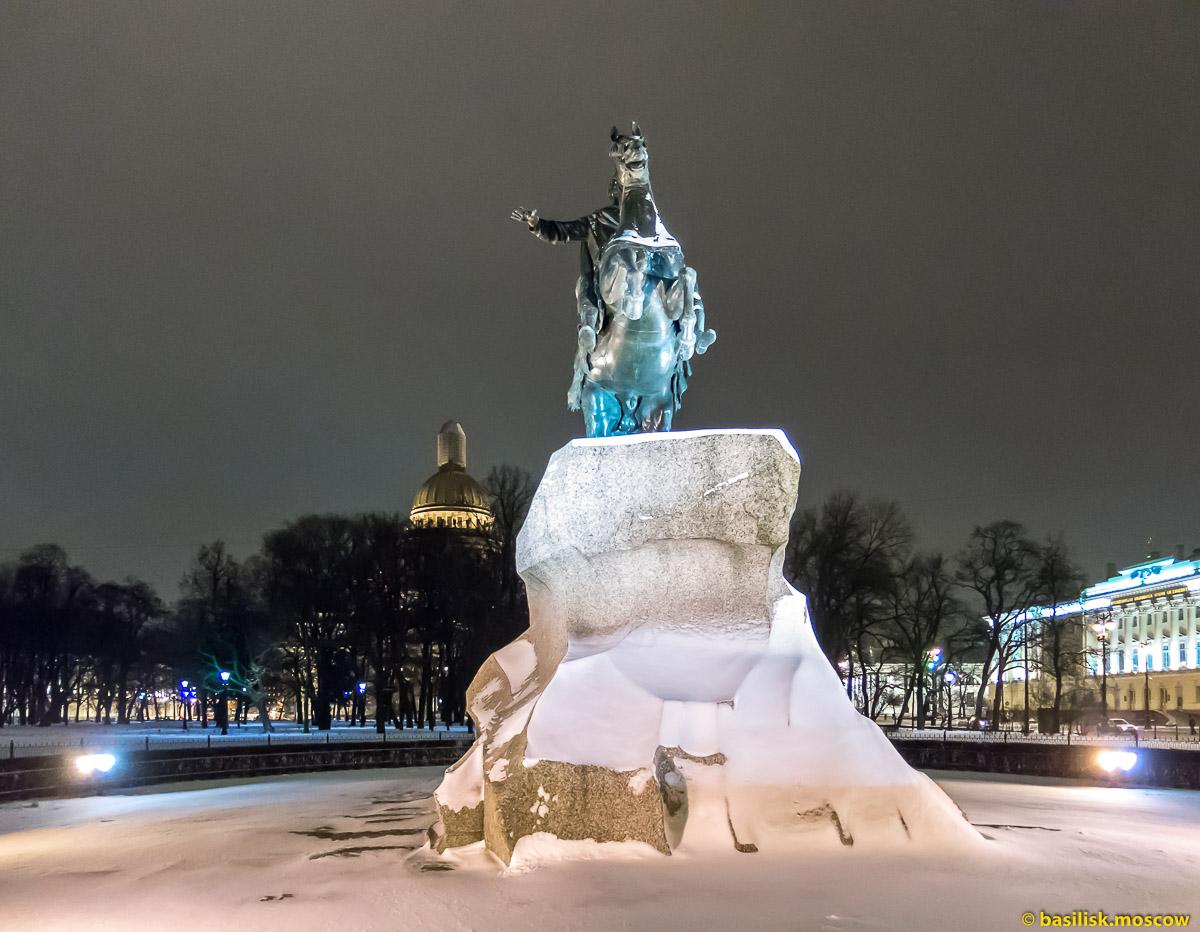Медный всадник. Зимний Петербург. Январь 2018