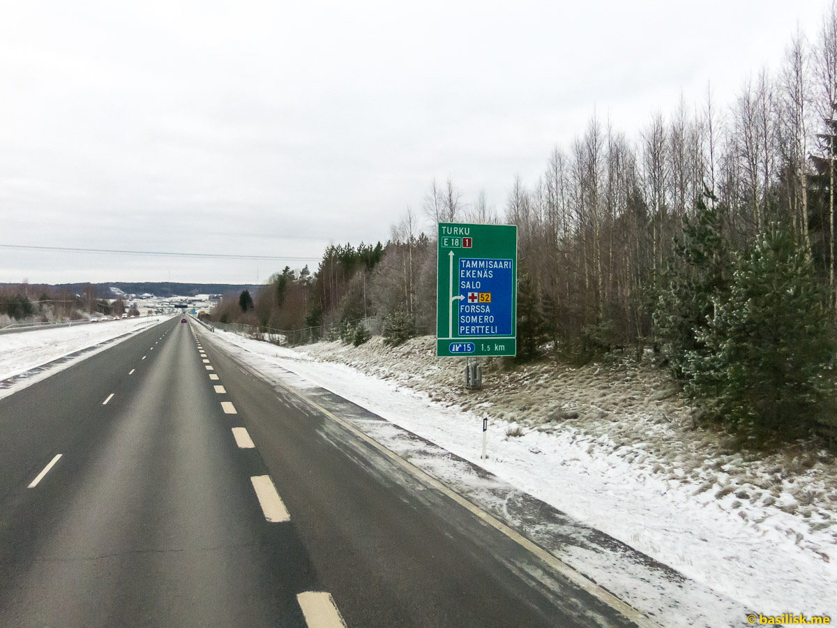 Финские дороги. Поездка на автобусе Хельсинки - Турку. Январь 2018