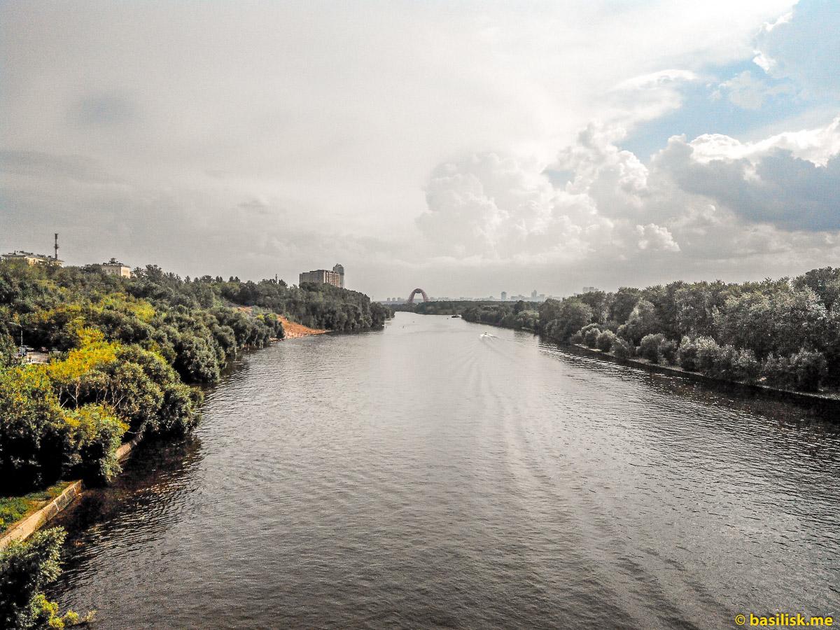 Река Москва. Вид со Строгинского моста в сторону Серебряного бора. Август 2018