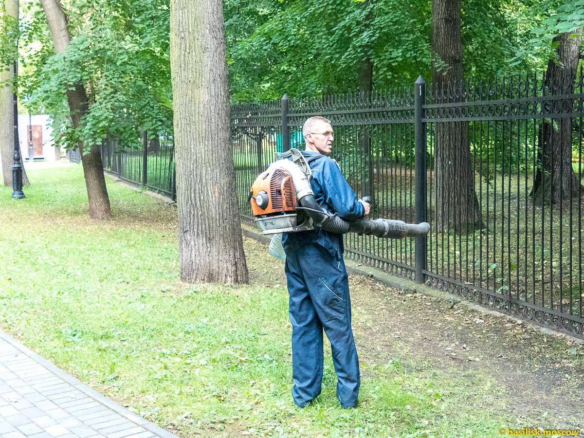 Сдувает листья с газона. Парк Останкино. Москва. Август 2017