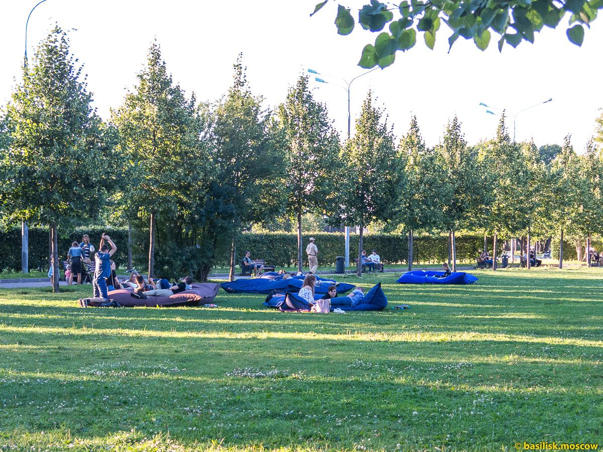Люди лежат на газоне. Парк Горького. Москва. Июль 2017