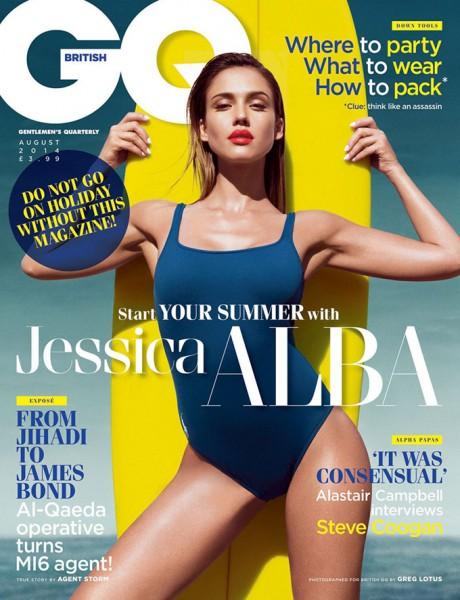 Джессика Альба демонстрирует монокини и модный белый маникюр в GQ UK