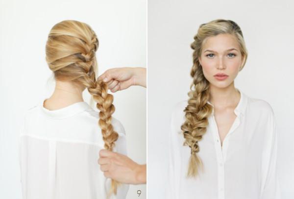 DIY. Пошаговая схема выполнения французской косы набок. Вариант свадебной или летней прически