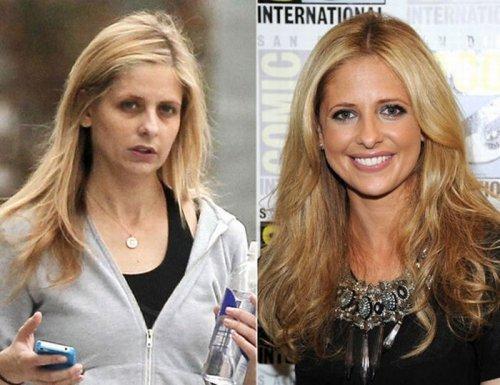 знаменитости без макияжа Сара Мишель Геллар.