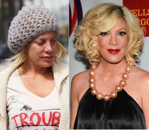 знаменитости без макияжа Тори Спеллинг.