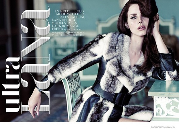 Лана Дель Рей в фотосессии для Fashion Magazine: меха, гротеск и татуировки