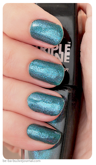 Sally Hansen Triple Shine Nail Color - Bait Me 110, Slick Black 190, Fanta-sea 330, Sparkling Water 360 Swatch Отзыв