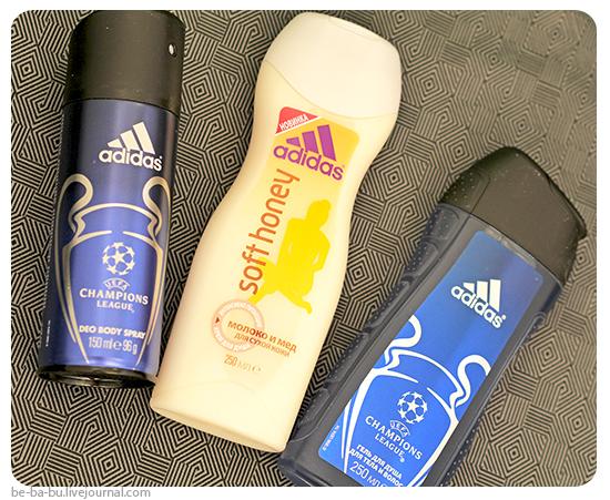 Гель для душа, дезодорант-спрей Adidas UEFA Champions League, гель для душа Adidas Soft Honey. Отзыв