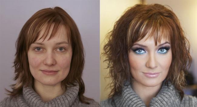 косметика до и после макияж