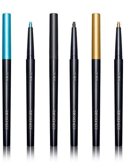 COVERGIRL INK IT! IN AQUAMARINE INK, BLACK INK AND GOLDEN INK