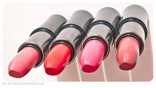 Mary Kay Creme Lipstick - Paradise Pink, Soft Pink, Frosted Rose, Sunburst. Отзыв, обзор, свотчи.