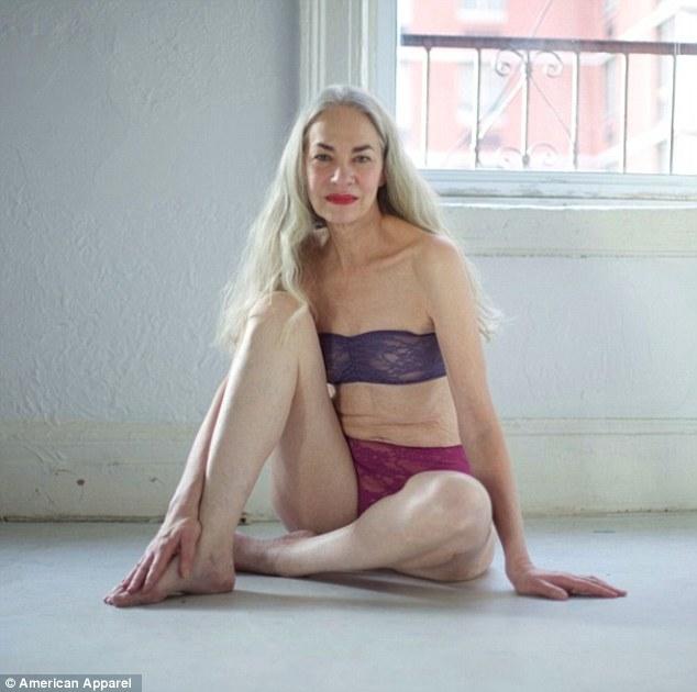 62-летняя женщина рекламирует нижнее белье, или American Apparel опять пиарится на скандале.