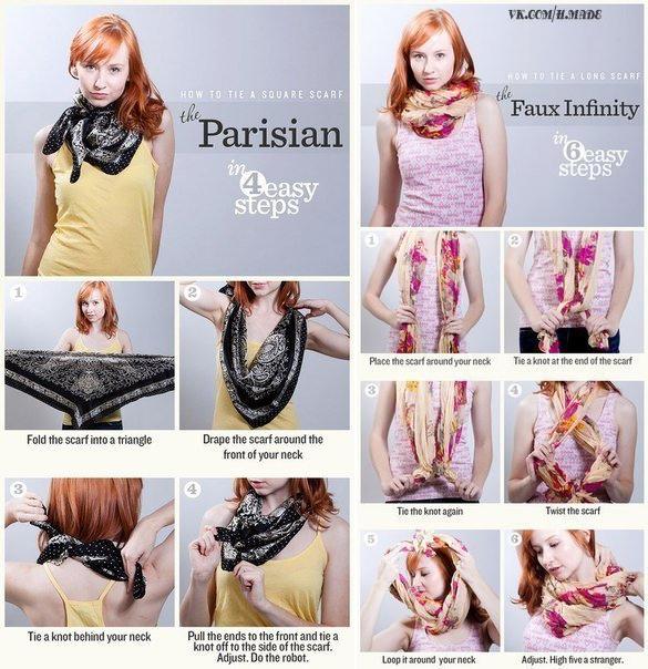 Как красиво повязать шарф: картинки и видео