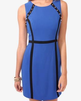 Spiked Contrast Paneled Dress closeup