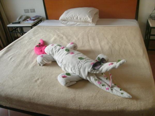 Pink Flowery Crocodile Towel Art!