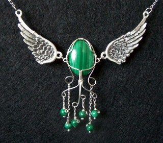 Angelus - Pewter wings for a Malachite Angel